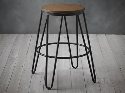 Product photograph showing Ikon Wood Seat With Black Metal Hairpin Legs Bar Stool