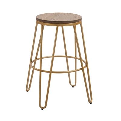 Product photograph showing Ikon Wood Seat With Gold Effect Hairpin Legs Bar Stool