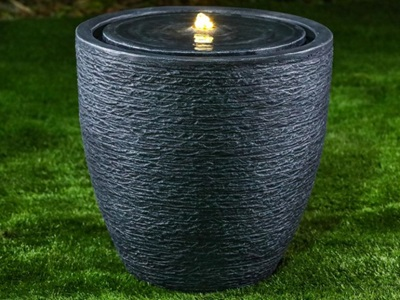 Product photograph showing Jalen Large Water Feature With 1 Led - Dark Grey