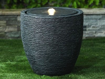 Product photograph showing Jalen Medium Water Feature With 1 Led - Dark Grey