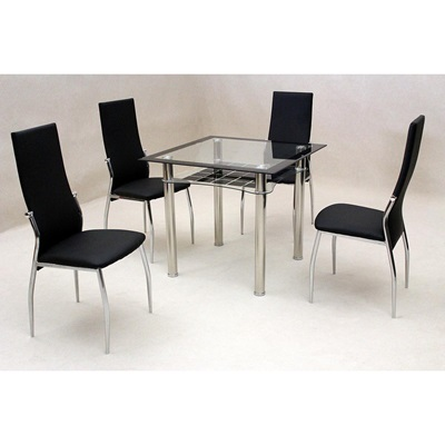 Product photograph showing Jazo Dining Table Glass And Chrome