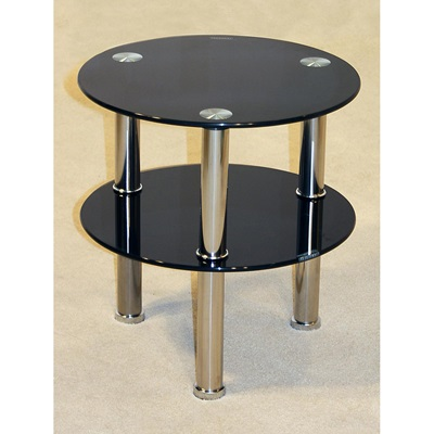 Product photograph showing Kansas Round 2 Shelf Lamp Table