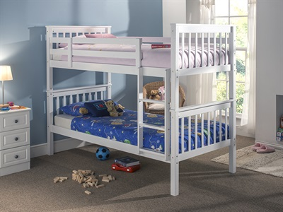 Snuggle Beds Karina Bunk  White 3 Single White Bunk Bed