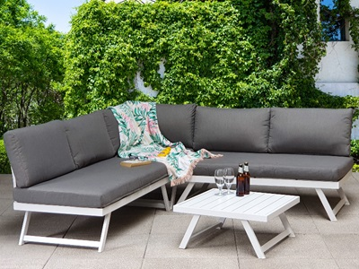 Product photograph showing Kimmie Corner Sofa Set With Adjustable Head Rest
