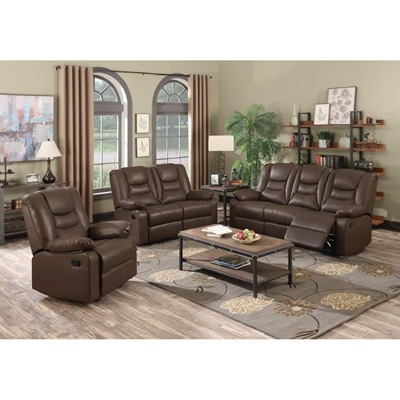Product photograph showing Kirk Recliner Leathergel And Pu 3 Seater Sofa