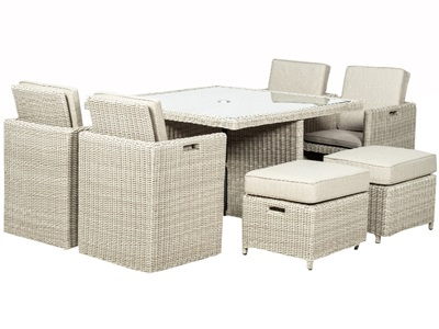 Product photograph showing Landford Cream 8 Seater Square Cube Table - Includes Winter Cover