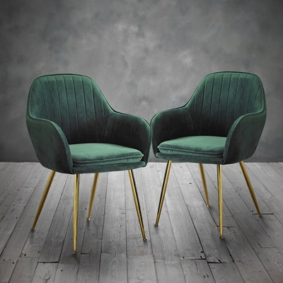 Product photograph showing Lara Dining Chair With Gold Legs Pack Of 2