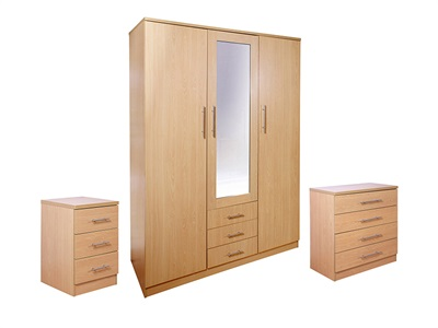 GFW Las Vegas 3-Piece Set (3 Door) Beech Bedroom Set