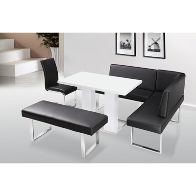 Product photograph showing Liberty Bench Straight With No Back Pu Faux Leather And Chrome