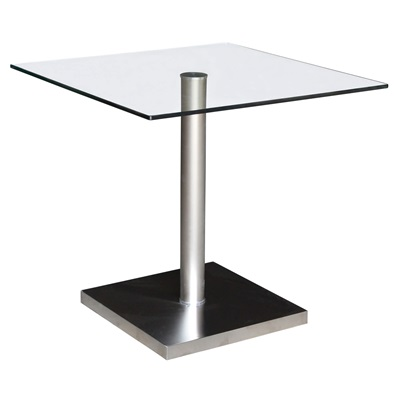 Product photograph showing Lucas Havana Dining Table Stainless Steel And Clear Glass