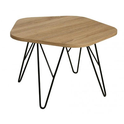 Product photograph showing Lugano Coffee Table Natural With Black Metal Legs