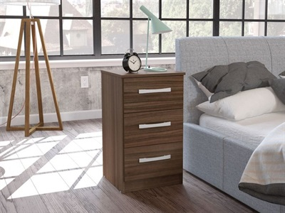 Birlea Lynx 3 Drawer Bedside (Assorted Colours) Walnut & Black Flat Packed Bedside Chest