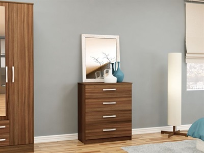 Birlea Lynx 4 Drawer Chest (Assorted Colours) Walnut & Black Drawer Chest