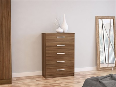 Birlea Lynx 5 Drawer Chest (Assorted Colours) Walnut & Black Drawer Chest