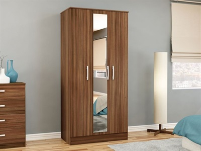 Birlea Lynx 3 Door Wardrobe (Assorted Colours) Walnut & Black Wardrobe