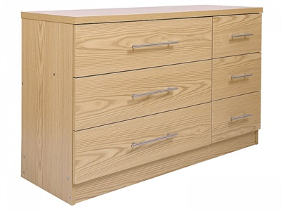 GFW Manhattan Extra Wide Chest (3 + 3 Drawer Chest) Oak Drawer Chest