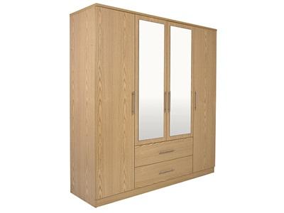 GFW Manhattan Wardrobe (4 Door) Oak Wardrobe