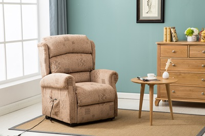 Product photograph showing Manhattan Fabric Rise Recline Wheat