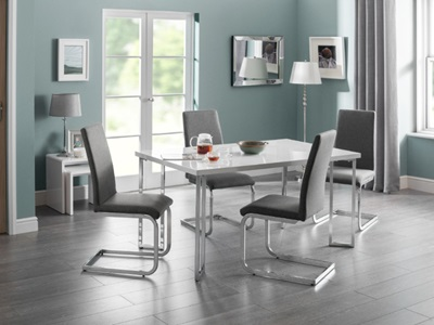 Product photograph showing Manhattan Hi Gloss Chrome Dining Table