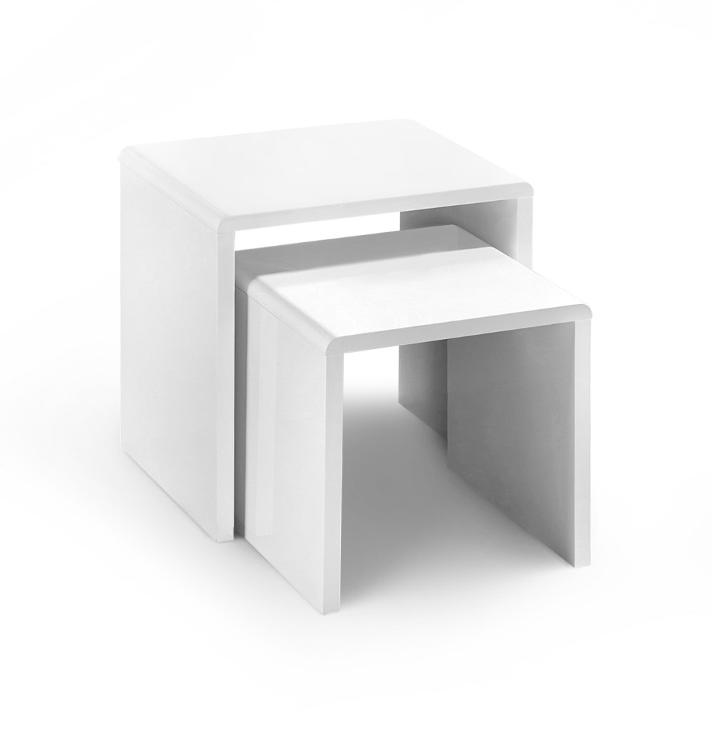 Product photograph showing Manhattan High Gloss White Nest Of 2 Tables