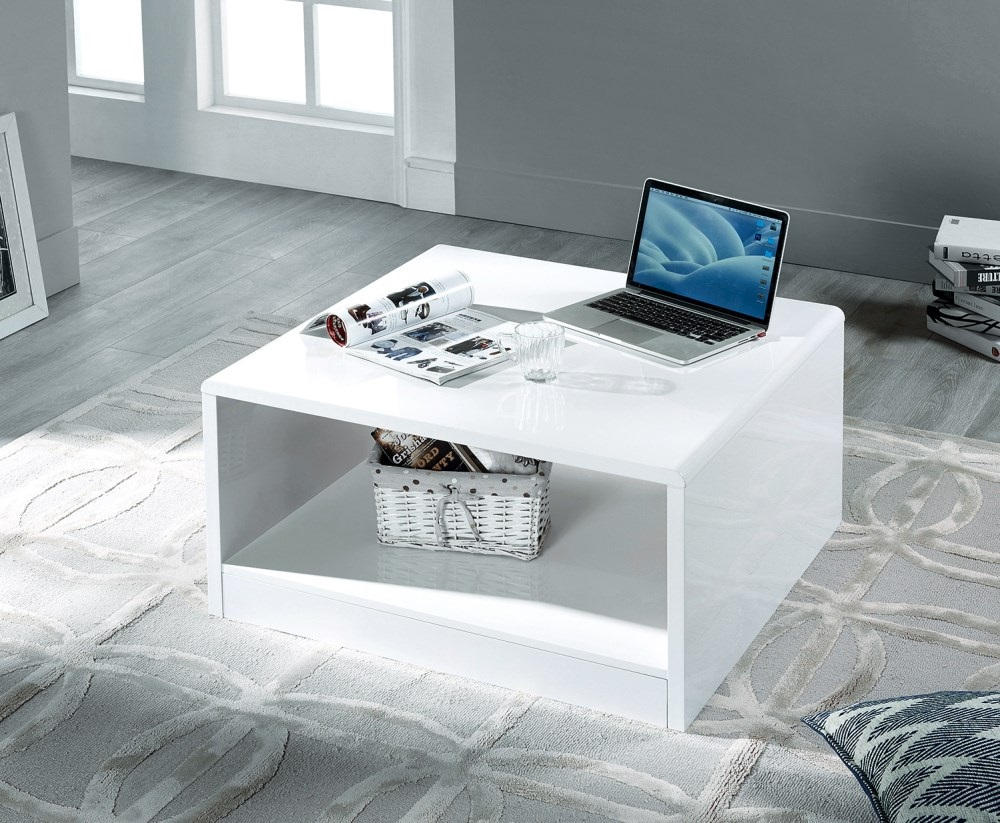 Product photograph showing Manhattan High Gloss White Square Coffee Table