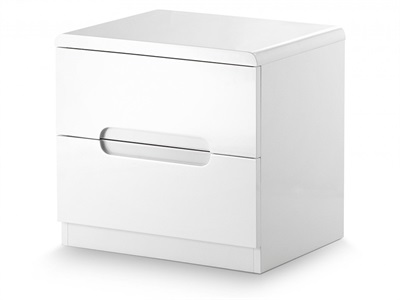 Julian Bowen Manhattan 2 Drawer Bedside White Bedside Chest
