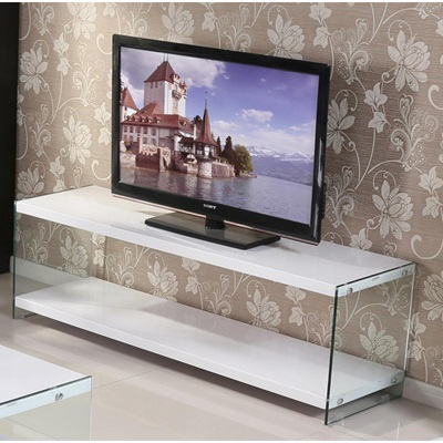 Product photograph showing Marco White High Gloss And Glass Tv Unit