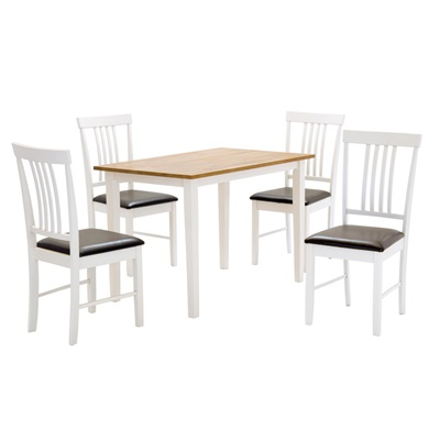 Product photograph showing Massa White Medium Dining Set With 4 Chairs
