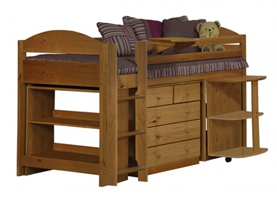 Verona Design Ltd Maximus Midsleeper Set 1 3 Single Red Details Cabin Bed