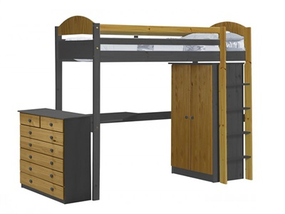 Verona Design Ltd Maximus High Sleeper Set 2 Graphite 3 Single Graphite High Sleeper with Furniture Set High Sleeper