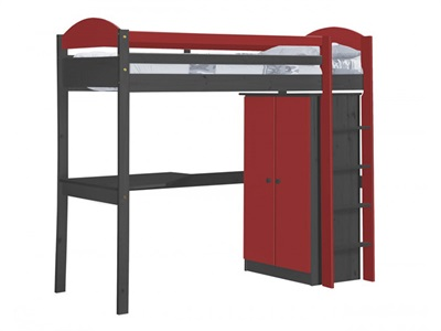 Verona Design Ltd Maximus High Sleeper Set 1 Graphite 3 Single Graphite High Sleeper with Desk + Wardrobe High Sleeper