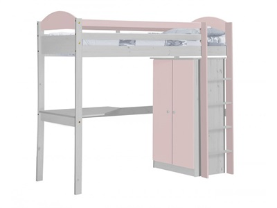 Verona Design Ltd Maximus High Sleeper Set 1 Whitewash 3 Single Whitewash Antique Details High Sleeper with Desk + Wardrobe High Sleeper