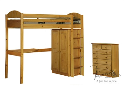 Verona Design Ltd Maximus High Sleeper Set 2 3 Single Antique High Sleeper with Furniture Set High Sleeper
