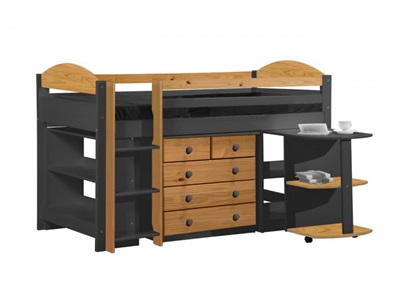Verona Design Ltd Maximus Mid Sleeper Set 1 Graphite 3 Single Graphite Whitewash Mid Sleeper Cabin Bed