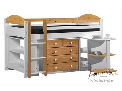 Verona Design Ltd Maximus Mid Sleeper Set 1 Whitewash 3 Single Whitewash Orange Mid Sleeper Cabin Bed