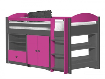 Verona Design Ltd Maximus Mid Sleeper Set 2 Graphite 3 Single Graphite Fuschia Mid Sleeper Cabin Bed