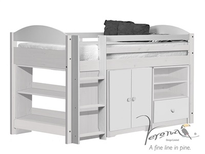 Verona Design Ltd Maximus Mid Sleeper Set 2 Whitewash 3 Single Whitewash Pink Mid Sleeper Cabin Bed