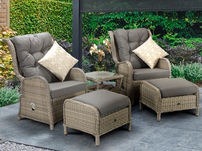 Product photograph showing Meghan Reclining Lounge Set - Creamy Grey Wicker