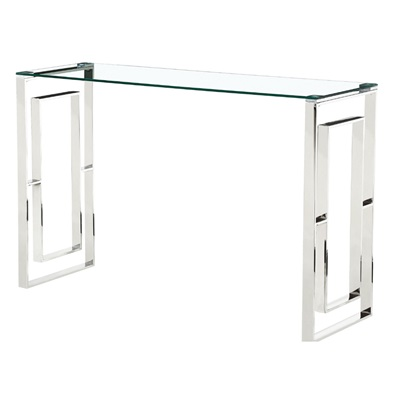 Product photograph showing Memphis Glass Console Table