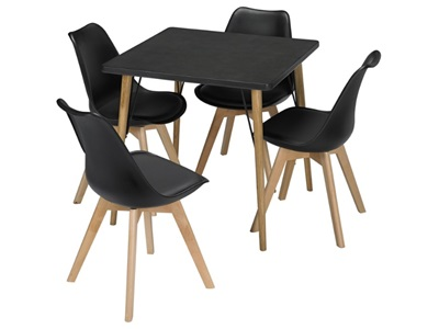Product photograph showing Mercer Dining Table Black Faux Concrete