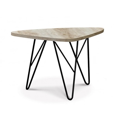 Product photograph showing Mersey Coffee Table Natural With Black Metal Legs