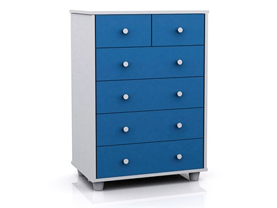 GFW Miami Blue 6-Drawer Chest Blue and White Drawer Chest