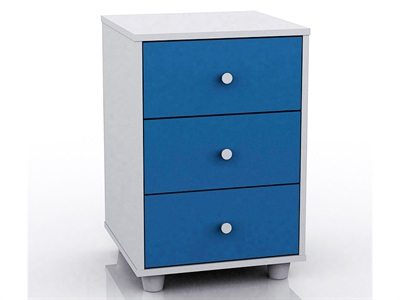 GFW Miami Blue Bedside Table (3 Drawer) Blue and White Bedside Chest