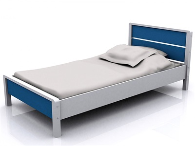 GFW Miami Blue 3 Single Blue and White Wooden Bed