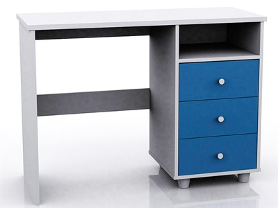 GFW Miami Blue Study Desk (3 Drawer) Blue and White Desk