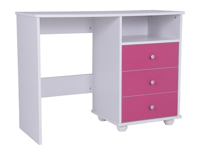 GFW Miami Pink Study Desk (3 Drawer) Pink And White Desk