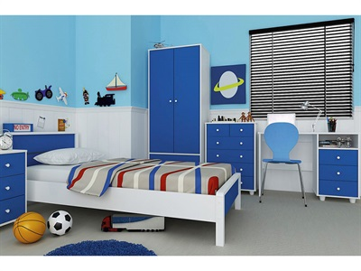GFW Miami Blue 5-Piece Bedroom Set  Blue and White Bedroom Set