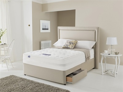Silentnight 2000 Pocket Sleep Memory 4 6 Double Sandstone Platform Top - No Drawers Divan