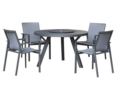 Product photograph showing Milano 4 Seat Dining Set - 1 2m Round