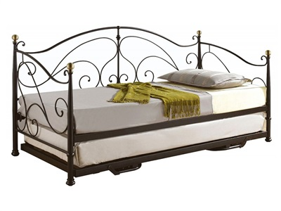Birlea Milano Daybed 3 Single Black Metal Bed